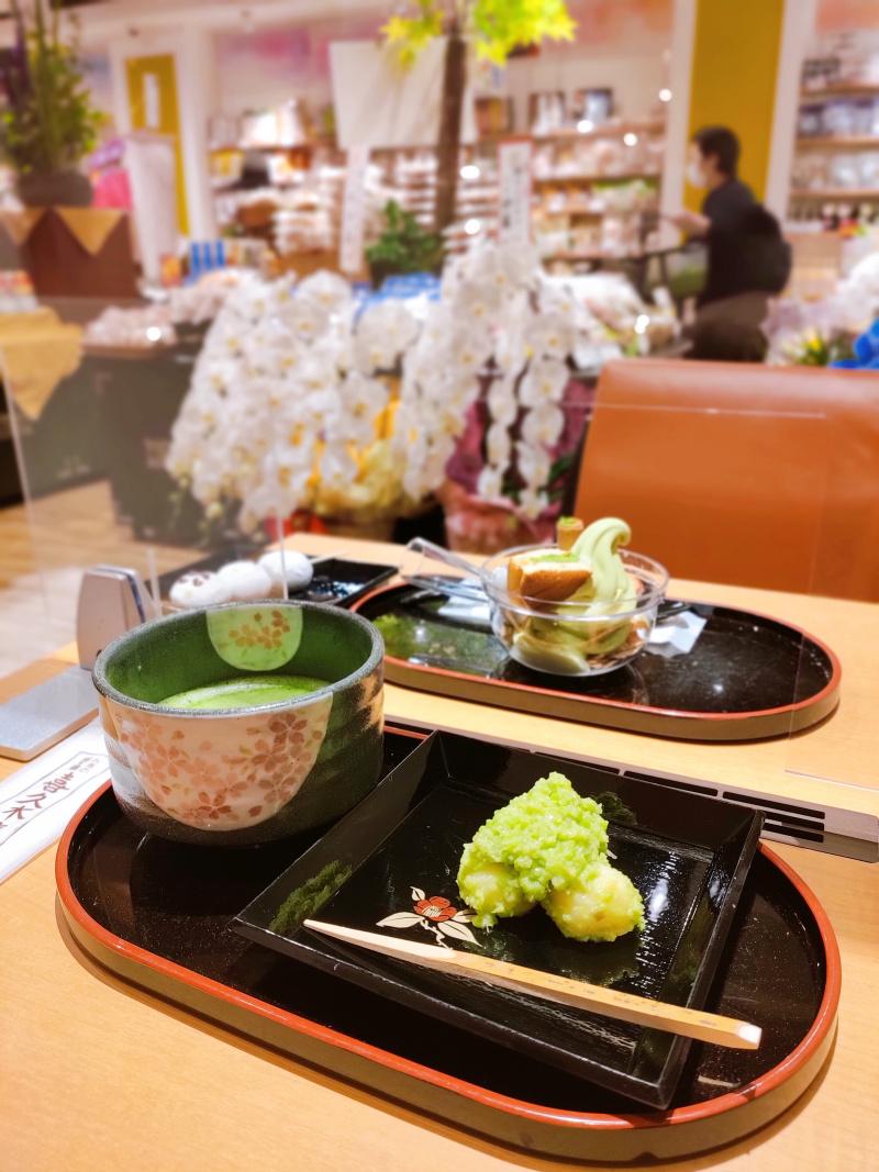 お茶の井ヶ田 仙台中央本店の「ずんだ餅とお抹茶のセット」
